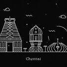 Chennai Skyline Minimal Line Art Poster by A Deniz Akerman