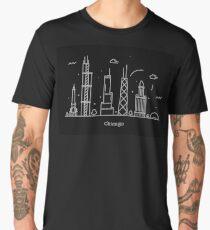 Chicago Skyline Minimal Line Art Poster Men's Premium T-Shirt