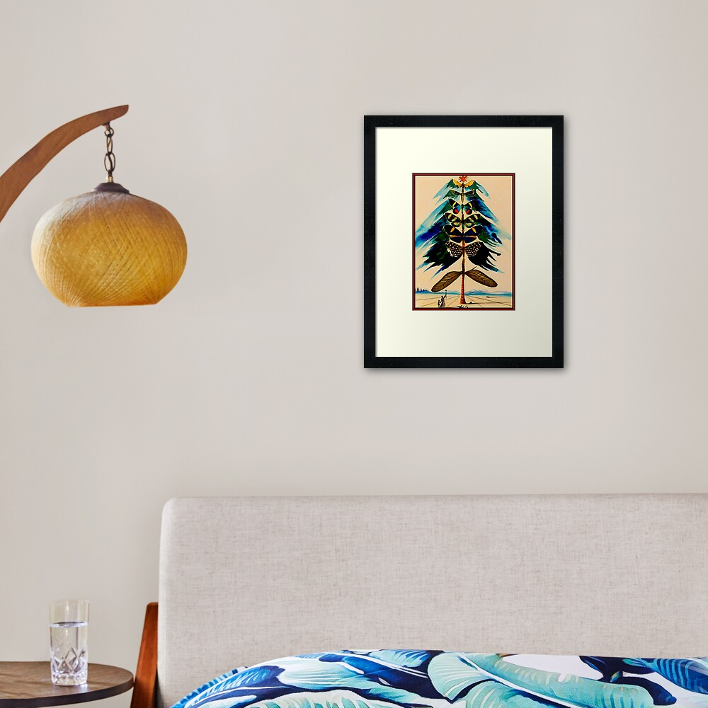 BUTTERFLY TREE : Vintage Abstract Dali Print Framed Art Print