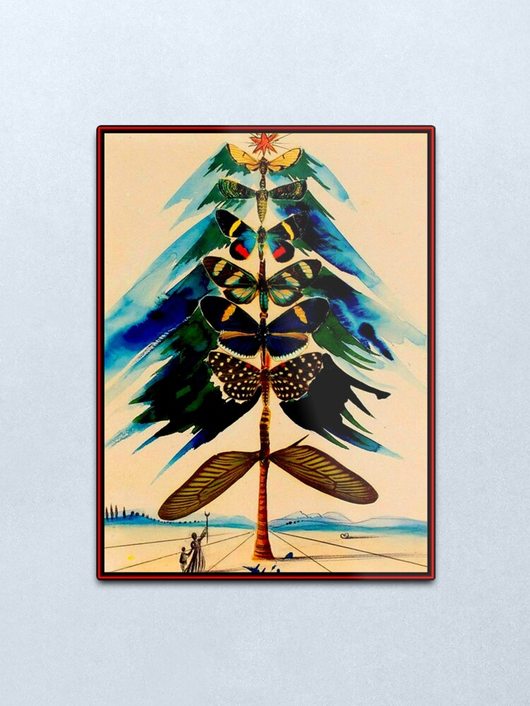 Alternate view of BUTTERFLY TREE : Vintage Abstract Dali Print Metal Print