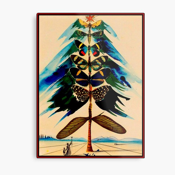 BUTTERFLY TREE : Vintage Abstract Dali Print Metal Print