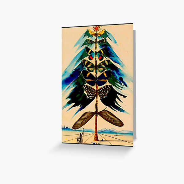 BUTTERFLY TREE : Vintage Abstract Dali Print Greeting Card
