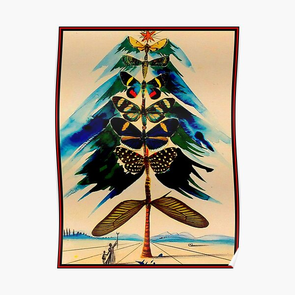 BUTTERFLY TREE : Vintage Abstract Dali Print Poster