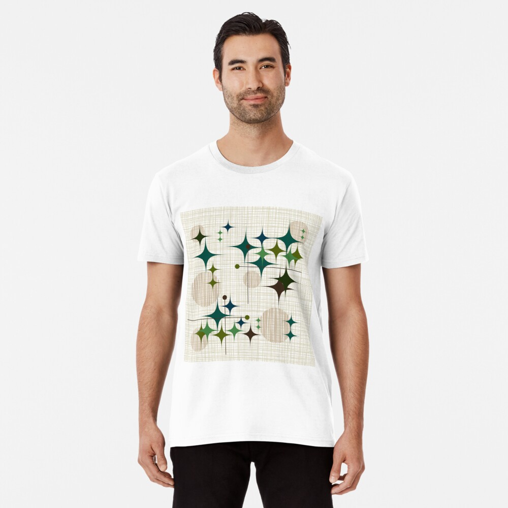 Eames Era Starbursts and Globes 1 (bkgrnd) Premium T-Shirt