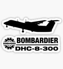 Bombardier DHC-8-300 (Q300) Silhouette (Black) Sticker