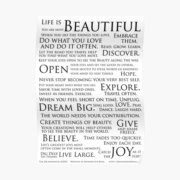 Jennifer's Manifesto Poster