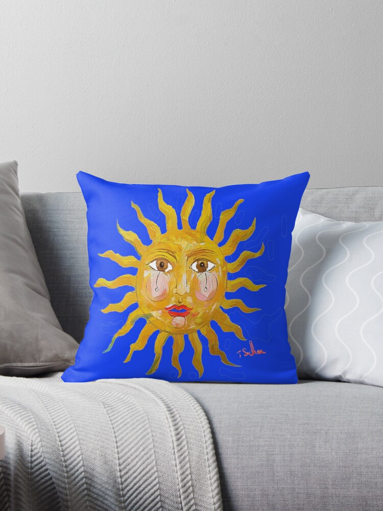 Sun Pillow, YOU CAN CHANGE BACKGROUND COLOR by Tom Sachse