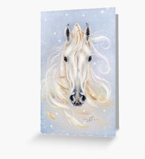 White horse by Maria Tiqwah Greeting Card