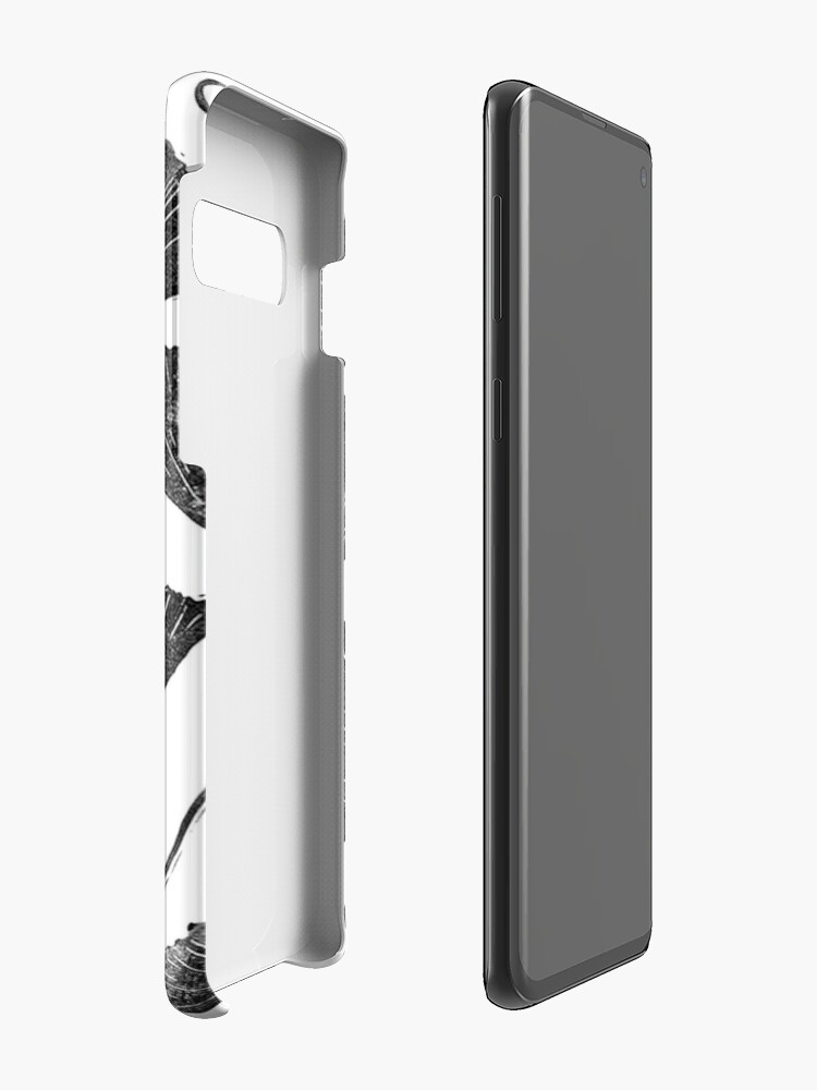 Alternative Ansicht von Ginkgo Biloba, Lino Schnitt Natur inspiriert Blattmuster Hülle & Klebefolie für Samsung Galaxy
