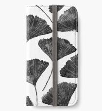 Ginkgo biloba, Lino cut nature inspired leaf pattern iPhone Wallet/Case/Skin