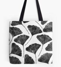 Ginkgo biloba, Lino cut nature inspired leaf pattern Tote Bag