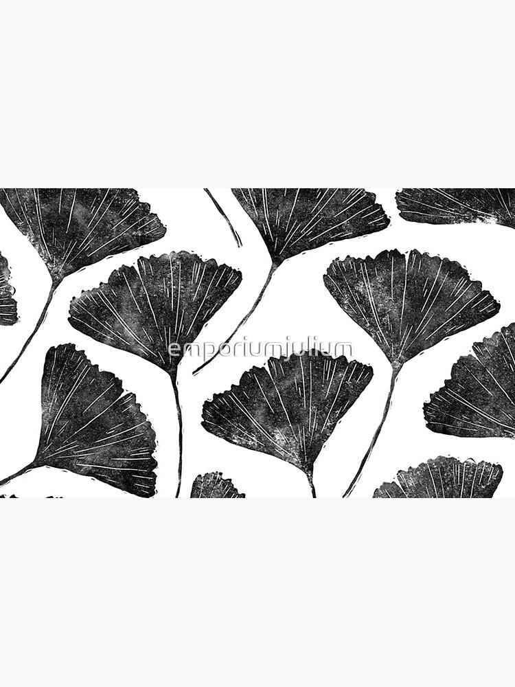 Ginkgo biloba, Lino cut nature inspired leaf pattern by emporiumjulium