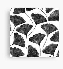 Ginkgo biloba, Lino cut nature inspired leaf pattern Canvas Print