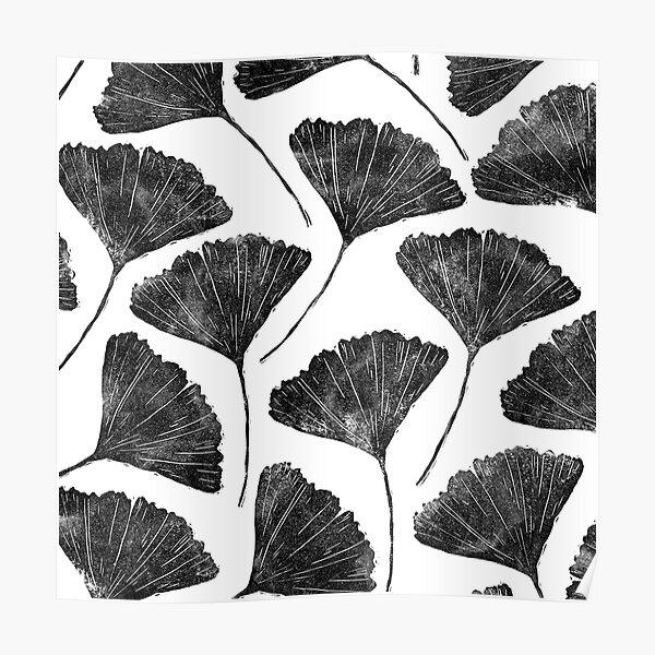 Ginkgo biloba, Lino cut nature inspired leaf pattern Poster