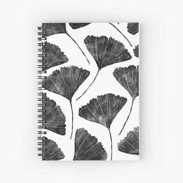 Ginkgo biloba, Lino cut nature inspired leaf pattern Spiral Notebook