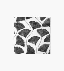Ginkgo biloba, Lino cut nature inspired leaf pattern Art Board
