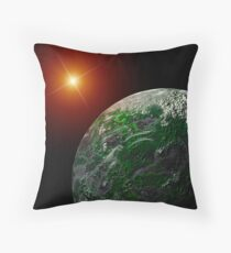 Bright Moon and Planet Throw Pillow