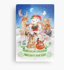 Merry vegan christmas by Maria Tiqwah Metal Print