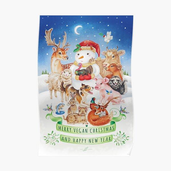 Merry vegan christmas by Maria Tiqwah Poster
