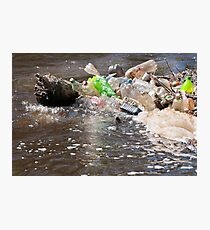 plastic bottles garbage damage river  Photographic Print
