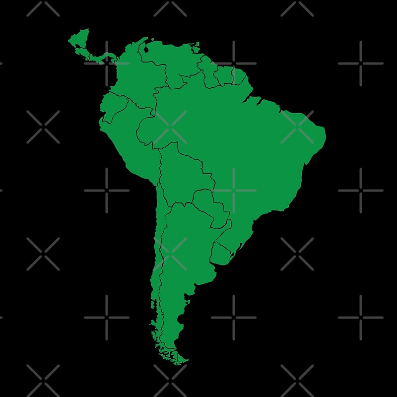 Blank Green South America Map Throw Pillows By Jazzydevil Redbubble - Blank world map green
