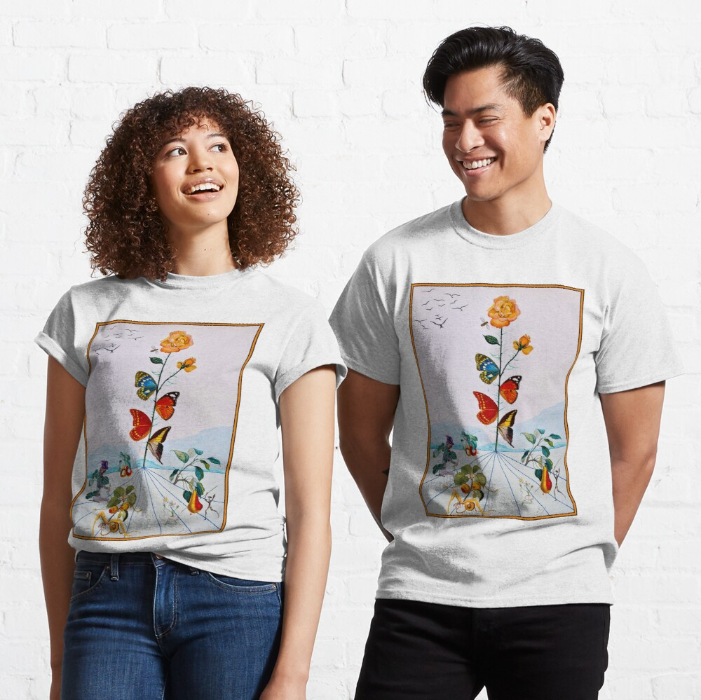 BUTTERFLY ROSE : Vintage Abstract Dali Painting Print Classic T-Shirt