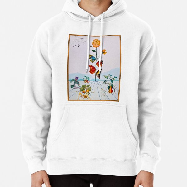 BUTTERFLY ROSE : Vintage Abstract Dali Painting Print Pullover Hoodie