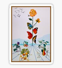BUTTERFLY ROSE : Vintage Abstract Dali Painting Print Sticker