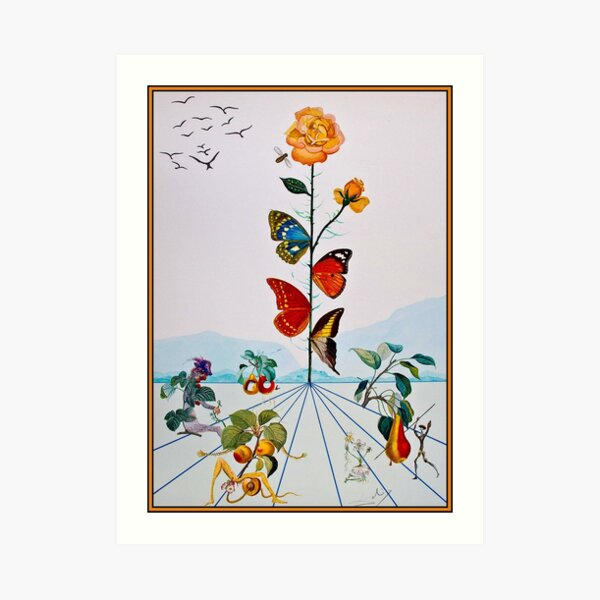 BUTTERFLY ROSE : Vintage Abstract Dali Painting Print Art Print