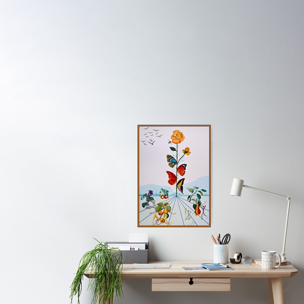 BUTTERFLY ROSE : Vintage Abstract Dali Painting Print Poster