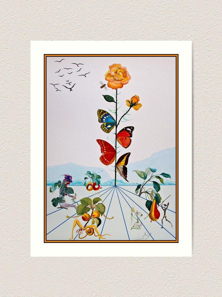Alternate view of BUTTERFLY ROSE : Vintage Abstract Dali Painting Print Art Print