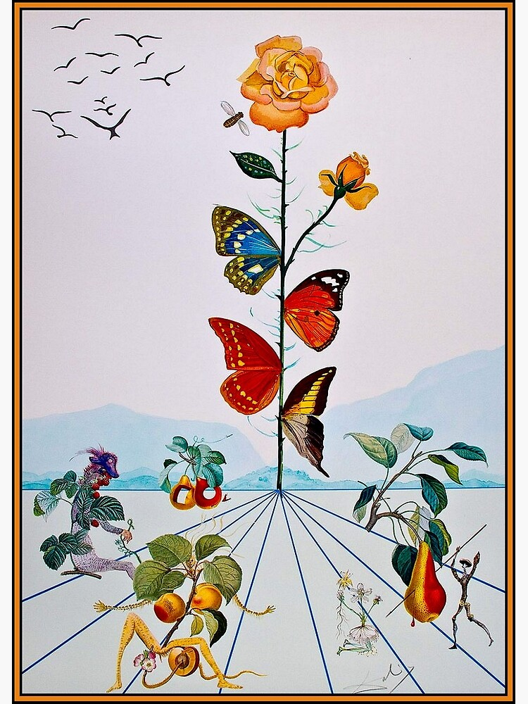 BUTTERFLY ROSE : Vintage Abstract Dali Painting Print by posterbobs