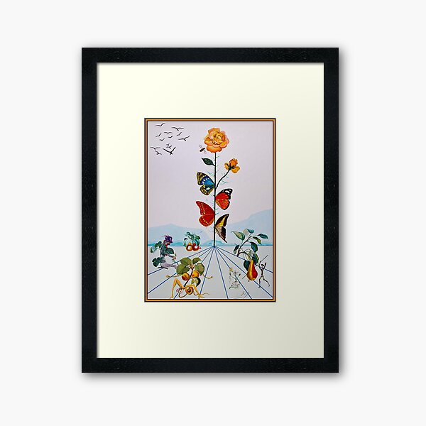 BUTTERFLY ROSE : Vintage Abstract Dali Painting Print Framed Art Print
