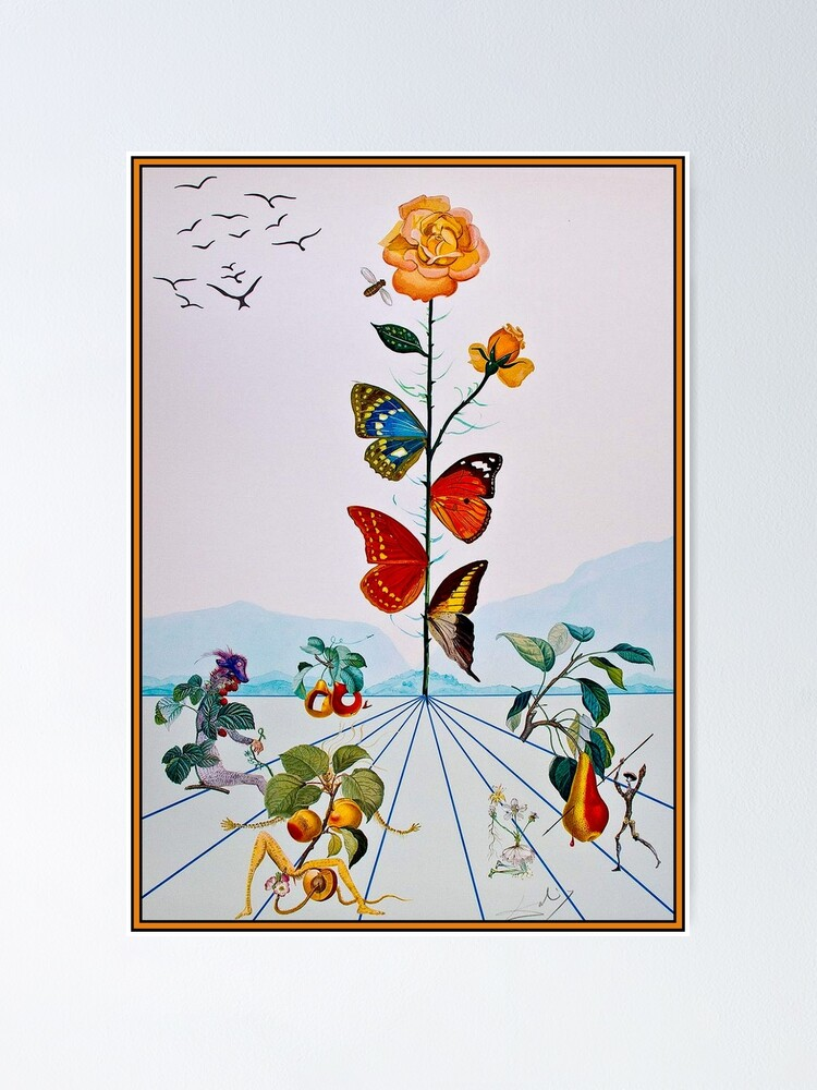 Alternate view of BUTTERFLY ROSE : Vintage Abstract Dali Painting Print Poster