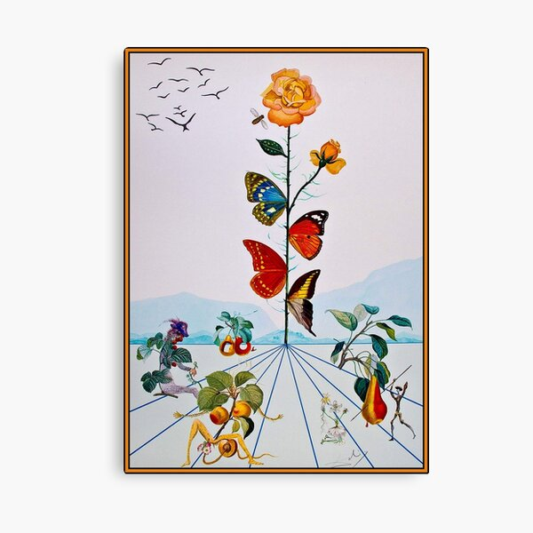 BUTTERFLY ROSE : Vintage Abstract Dali Painting Print Canvas Print