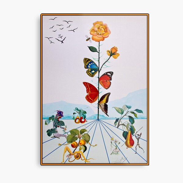 BUTTERFLY ROSE : Vintage Abstract Dali Painting Print Metal Print