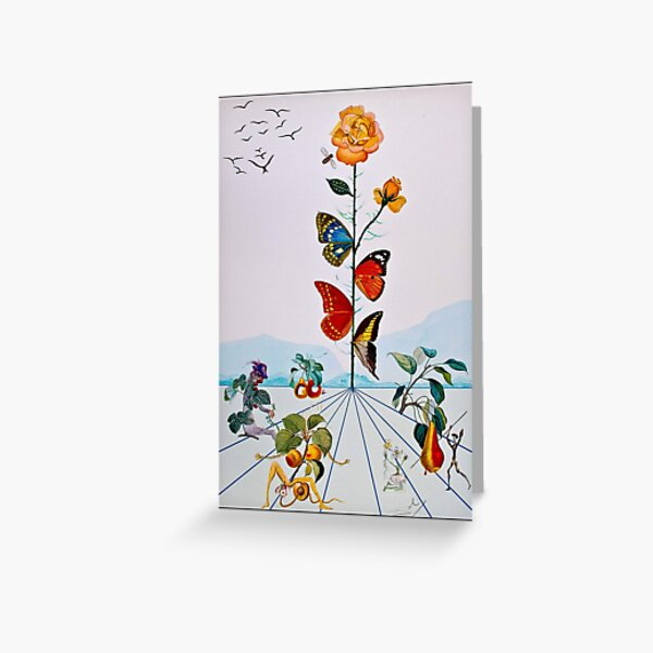 BUTTERFLY ROSE : Vintage Abstract Dali Painting Print Greeting Card
