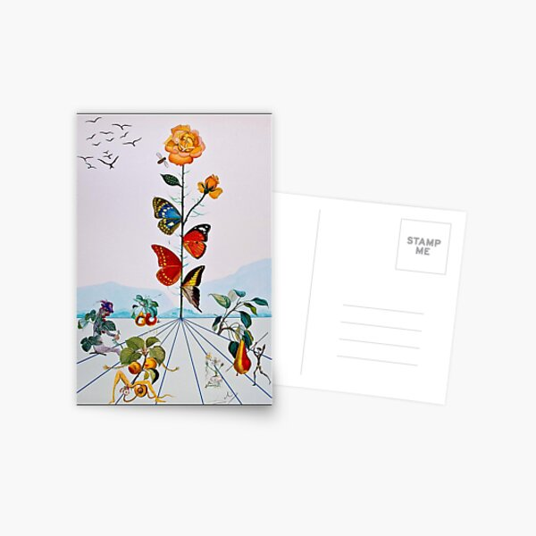 BUTTERFLY ROSE : Vintage Abstract Dali Painting Print Postcard