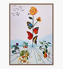 Lámina fotográfica BUTTERFLY ROSE: Pintura de Dalí abstracta de la vendimia