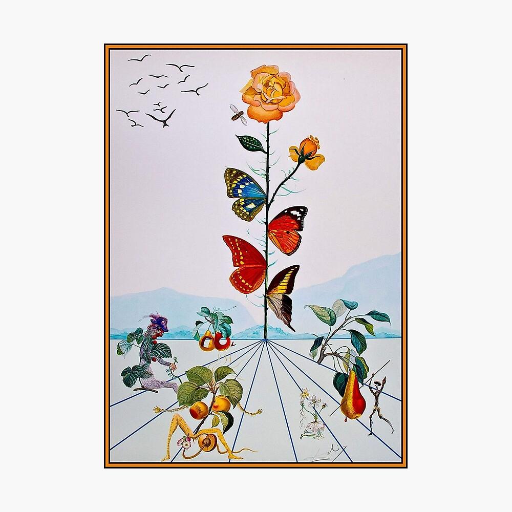 BUTTERFLY ROSE: Pintura de Dalí abstracta de la vendimia Lámina fotográfica