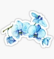 Pegatina Arte botánico azul de la orquídea