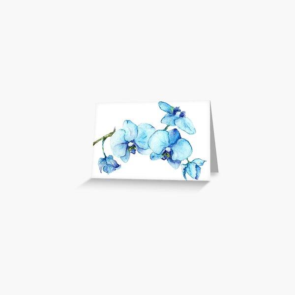 Blue Orchid Botanical Art Greeting Card