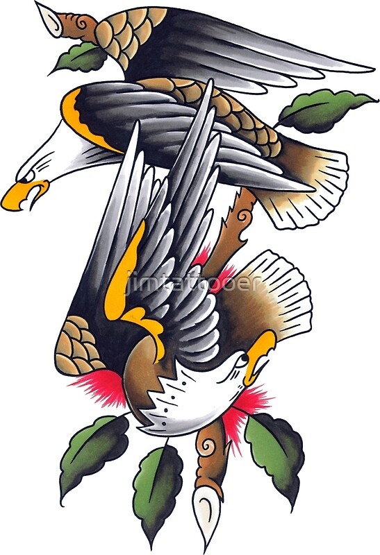 Sailor Jerry Style Two Perched Eagles Tattoo Design\