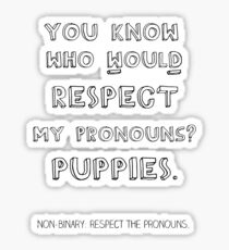 Puppy pronouns Sticker