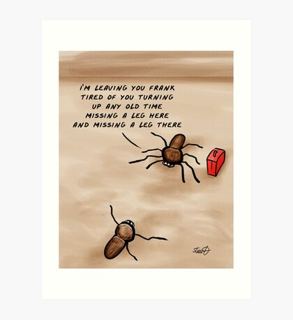 A Huntsman spider cartoon  Art Print