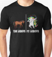 Ihr Großvater mein Großvater-Einhorn-T-Shirt Lustiger tupfender niedlicher Tupfen Slim Fit T-Shirt