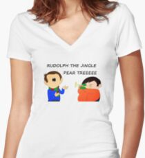 Rudolph the jingle pear tree Women's Fitted V-Neck T-Shirt