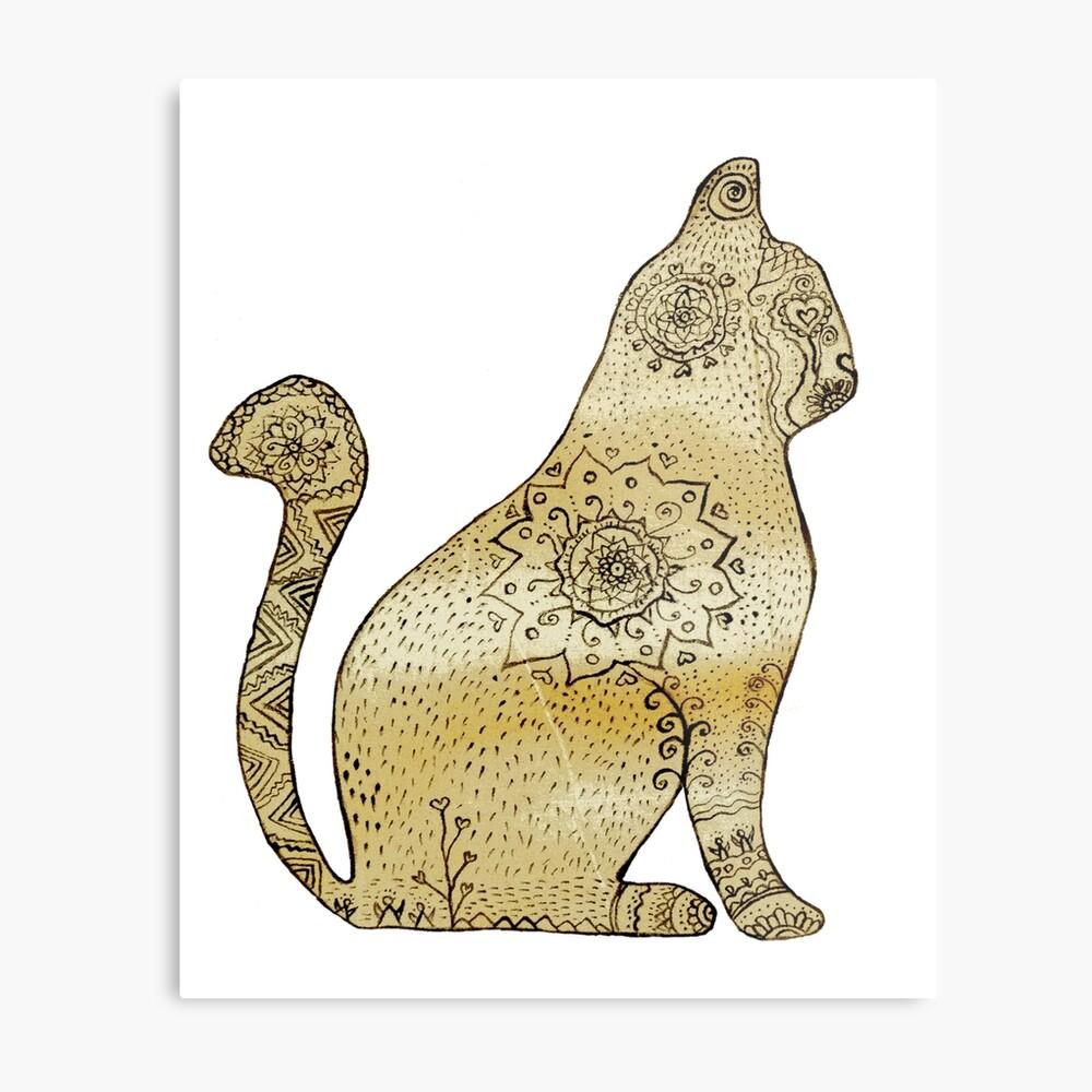 Mandala Cat Lienzo metálico