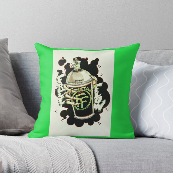"""Another impressive work by Tatt2, """"Spray Can Green"""" Throw Pillow"""