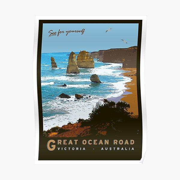 Great Ocean Road Vintage Illustration Poster